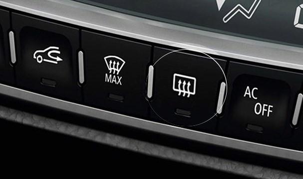 nút sấy kính lái trên ô tô